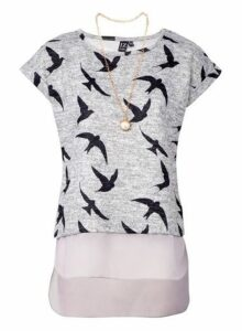 Womens *Izabel London Grey Swallow Print T-Shirt, Grey