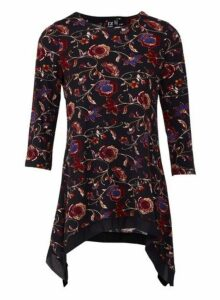Womens *Izabel London Black Floral Print Hanky Hem 3/4 Sleeve Top, Black
