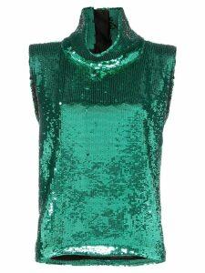 Halpern sleeveless sequin embellished turtleneck T-shirt - Green