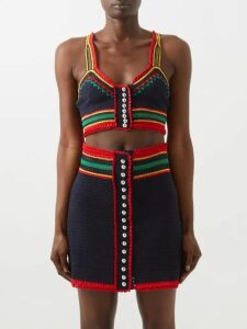 Dolce & Gabbana - Ruffled Lace Insert Silk Blend Blouse - Womens - White