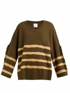 Barrie - Fancy Coast Striped Cashmere Sweater - Womens - Green Multi