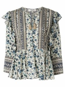 Sea floral print peplum blouse - Blue