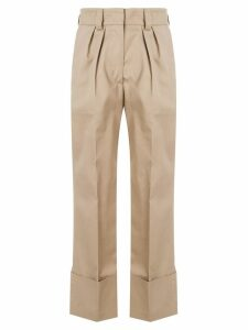 MSGM straight pleated trousers - Brown
