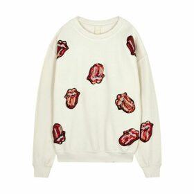 MadeWorn Rolling Stones Embellished Jersey Sweatshirt