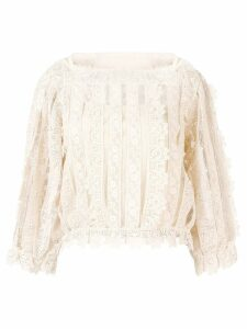 RedValentino lace and mesh panel blouse - NEUTRALS