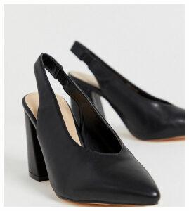 London Rebel wide fit pointed block heels-Black