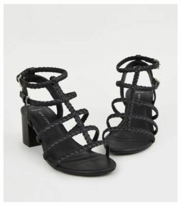 Wide Fit Black Plait Strap Gladiator Sandals New Look