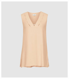 Reiss Bruna - V-neck Top in Peach, Womens, Size 14