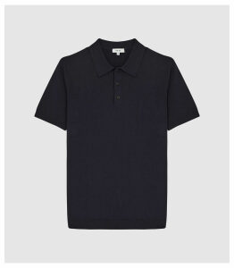 Reiss Varsity - Short Sleeved Cotton Polo in Navy, Mens, Size XXL