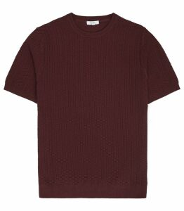 Reiss Casper - Textured Knitted T-shirt in Bordeaux, Mens, Size XXL