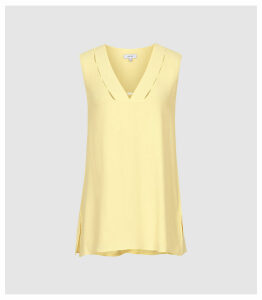Reiss Bruna - V-neck Top in Lemon, Womens, Size 14