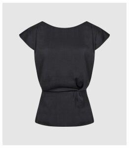 Reiss Dani - Capped Sleeve Top in Navy, Womens, Size 14