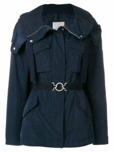 Moncler belted parka jacket - Blue