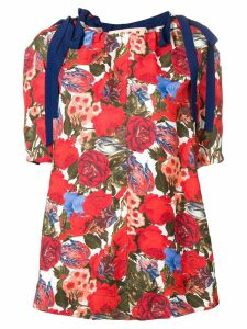 Marni tied sleeve floral top - Blue