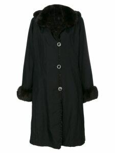 Liska contrast collar and cuff coat - Black