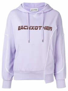 Each X Other deconstructed logo hoodie - PURPLE