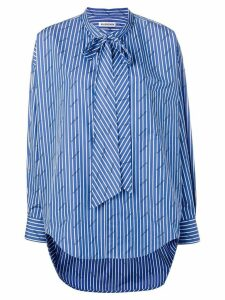 Balenciaga striped logo swing shirt - Blue