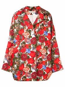 Marni oversized rose print coat - Red