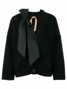 Nº21 bow knitted cardigan - Black