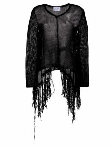 Dondup fringed open knit jumper - Black