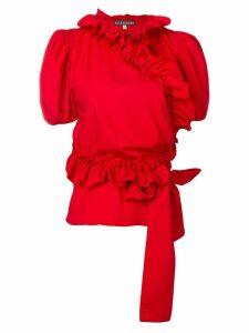 Alexa Chung ruffled wrap blouse - Red