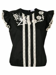 Red Valentino embroidered floral blouse - Black