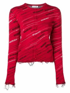 Balenciaga distressed logo cardigan - Red