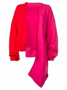 Unravel Project panelled asymmetric sweatshirt - Pink