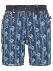 Chloé horse jacquard long denim shorts - Blue