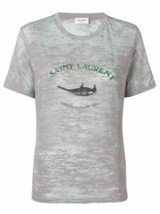 Saint Laurent logo print crew neck T-shirt - Grey