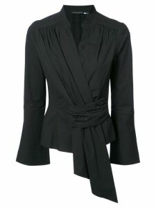 Josie Natori front gathered blouse - Black