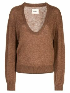 Khaite plunging neck sweater - Brown