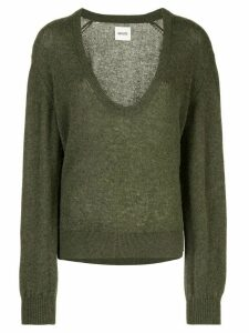 Khaite cashmere plunge neck sweater - Green