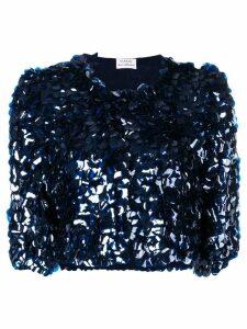 P.A.R.O.S.H. sequin embellished cropped jacket - Blue