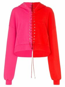 Unravel Project Terry lace-up hoodie - PINK