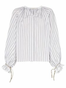 Etro Striped ruffle sleeve cotton blouse - White