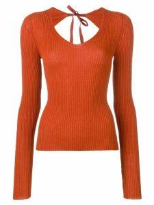 Mm6 Maison Margiela open back ribbed knit top - ORANGE