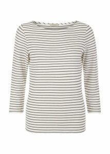 Striped Sonya Top Ivory Navy