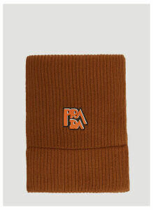 Prada Wool Ribbed Logo Scarf in Brown size One Size