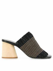 Proenza Schouler Fringe Wood Heel Slides - Black