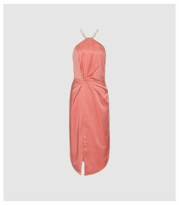 Reiss Paola - Halter Neck Cocktail Dress in Coral, Womens, Size 16