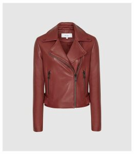 Reiss Sadie - Leather Biker Jacket in Red, Womens, Size 14