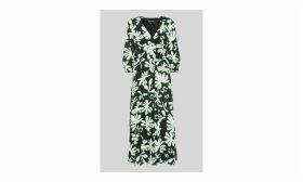 Palm Leaf Print Silk Dress