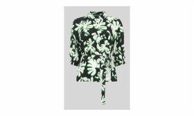 Palm Leaf Print Silk Shirt
