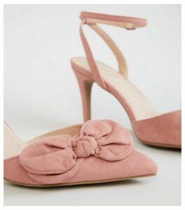 Pink Comfort Flex Suedette Bow Front Heels New Look