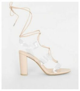Nude Clear Strap Ghillie Lace Up Heels New Look