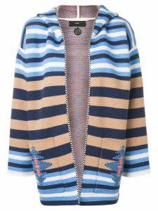 Alanui striped hooded cardigan - White