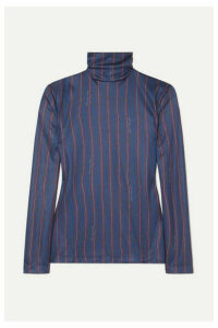 Rokh - Mask Striped Satin-jersey Turtleneck Top - Navy