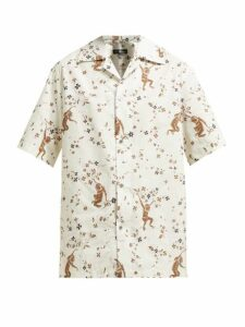 Edward Crutchley - Monkey-print Short-sleeved Cotton Shirt - Womens - Cream