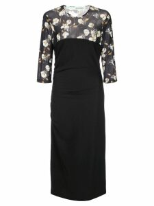 Off-White cotton flowers fitted dress - Black